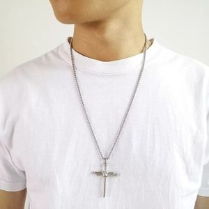 Stainless Steel Nail Cross Pendant Necklace Punk S